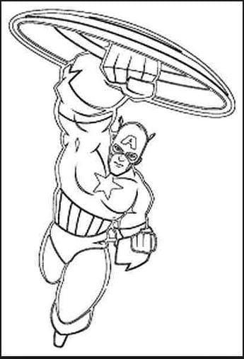 Mẫu tranh tô màu cho bé hình siêu anh hùng Captain America