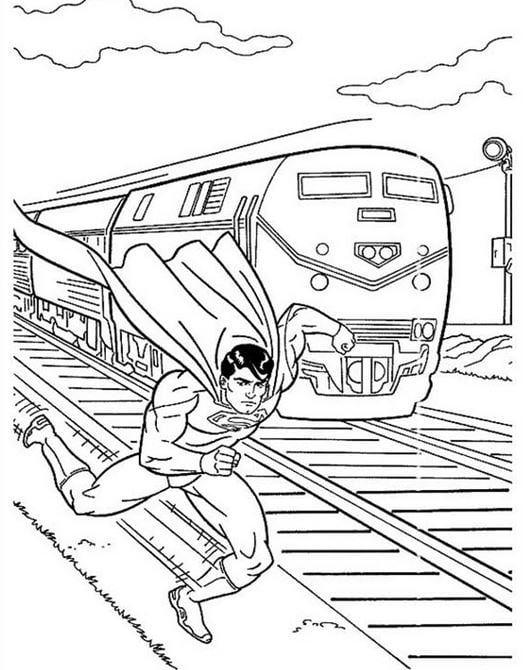 Mẫu tranh tô màu hình siêu nhân và đoàn tàu cho bé