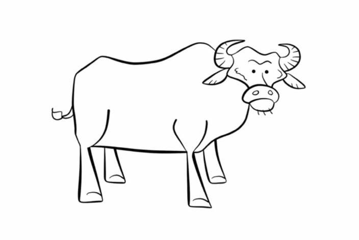 Mẫu tranh tô màu hình con trâu trong 12 con giáp dành cho bé