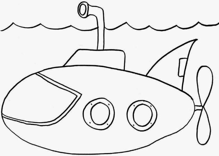 Mẫu tranh tô màu hình chiếc tàu ngầm ngộ nghĩnh dành cho bé