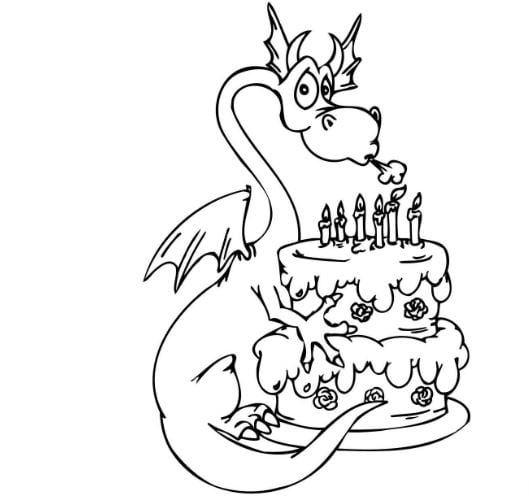 Mẫu tranh tô màu cho bé hình chú rồng và chiếc bánh sinh nhật