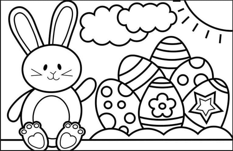 Mẫu tranh tô màu hình chú thỏ và những quả trứng