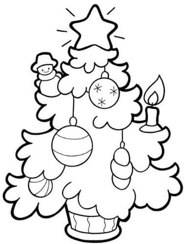 Mẫu tranh tô màu hình cây thông noel trang tri dành cho bé mầm non