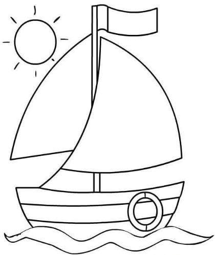 Mẫu tranh tô màu hình chiếc thuyền đơn giản dành cho bé