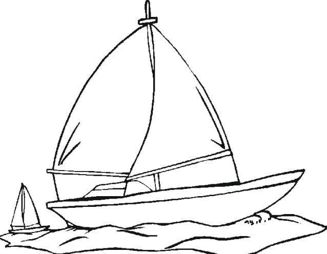 Mẫu tranh tô màu cho bé hình chiếc thuyền bờm đơn giản