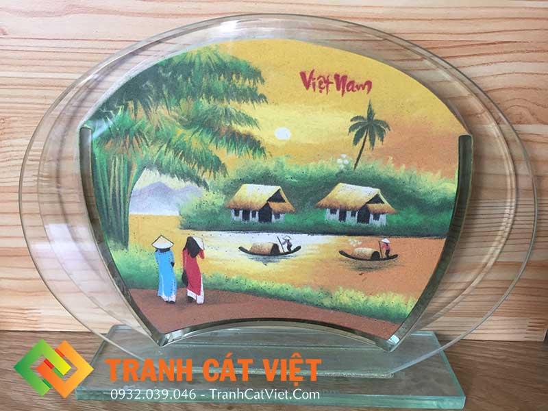 Mẫu tranh cát làng quê Việt Nam nghệ thuật để bàn (Ảnh - Tranh Cát Việt)