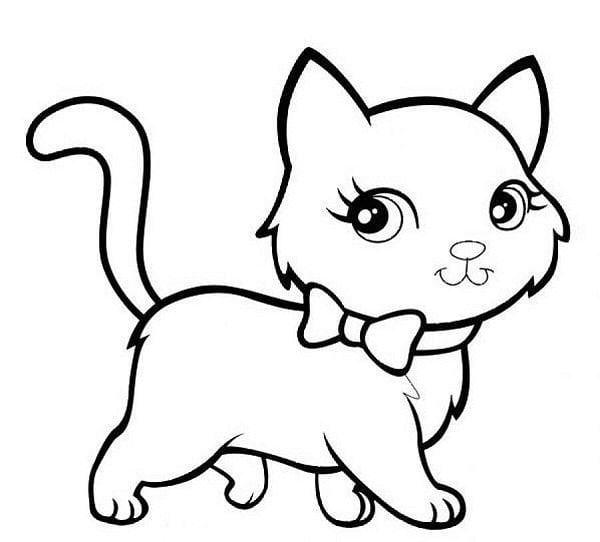 Tranh tô màu động vật – hình con mèo