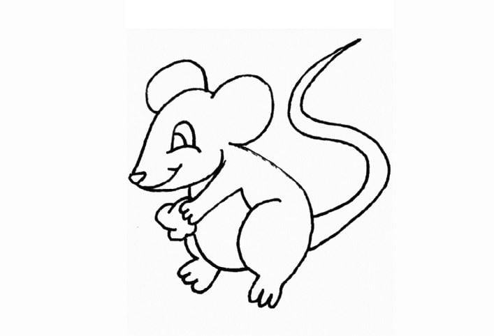 Mẫu tranh tô màu hình con chuột nhỏ nhắn dành cho bé