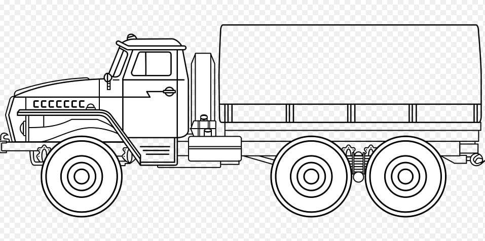 Mẫu tranh tô màu hình xe tải dành cho bé