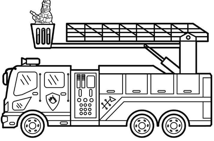Mẫu tranh tô màu hình xe cứu hỏa danh cho bé