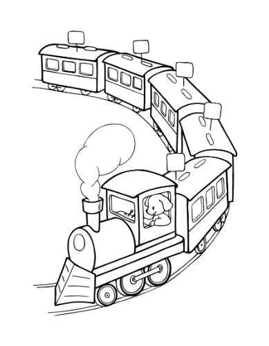 Mẫu tranh tô màu đoàn tàu xe lửa dành cho bé