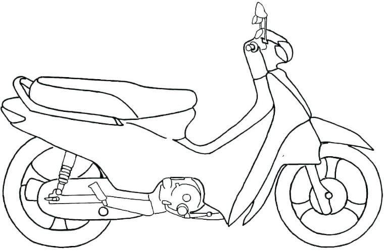 Mẫu tranh tô màu hình chiếc xe máy dành cho bé