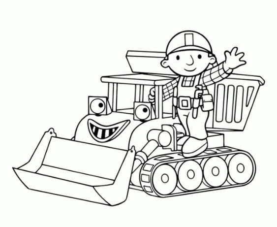 Mẫu tranh hình xe xới đất ngộ nghĩnh dành cho bé tô màu