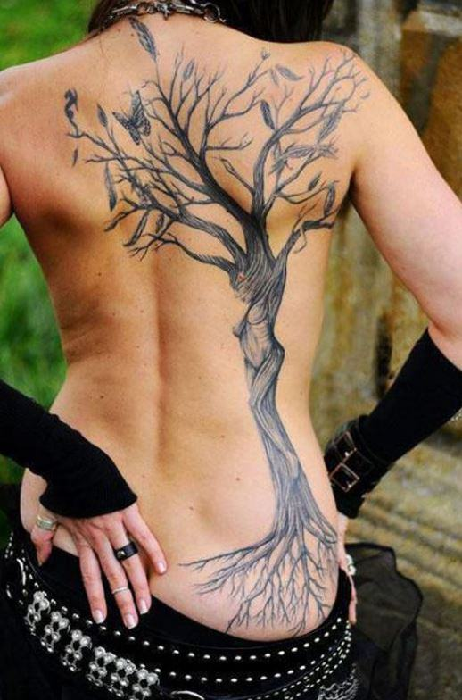 Mẫu hình xăm đẹp ở lưng dành cho nữ hình cái cây