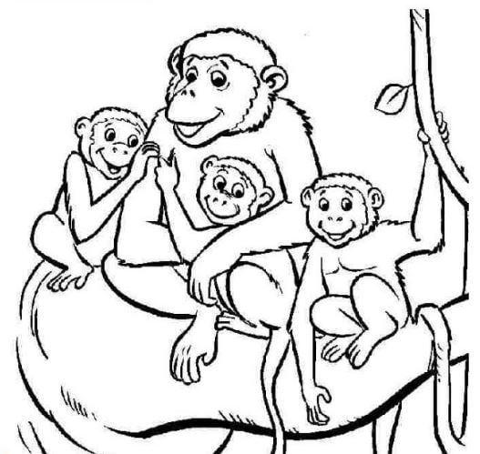 Mẫu tranh tô màu cho bé hình gia đình khỉ