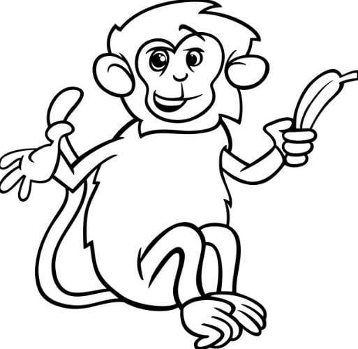 Mẫu tranh tô màu cho bé hình chú khỉ ngộ nghĩnh
