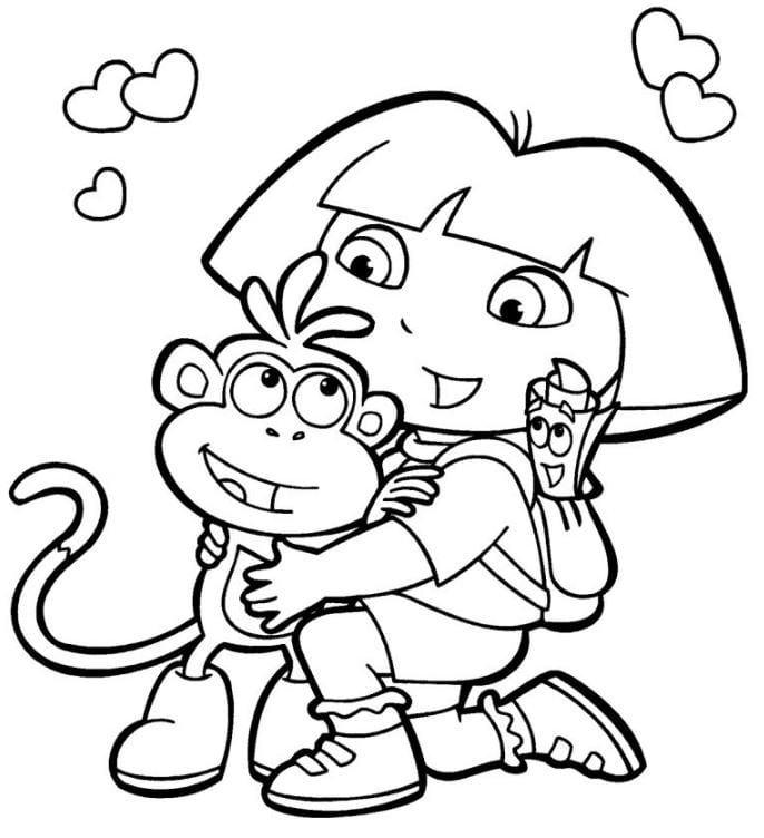 Mẫu tranh tô màu cho bè hình cô bé và chú khỉ