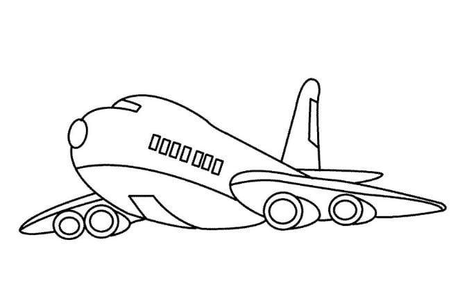 Mẫu tranh tô màu cho bé hình chiếc máy bay dành cho bé
