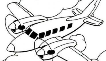 Mẫu tranh tô màu cho bé hình chiếc máy bay đang hạ cánh