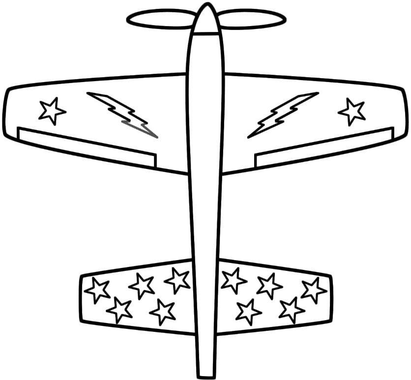 Mẫu tranh tô màu dành cho bé hình chiếc máy bay với nhiều ngôi sao