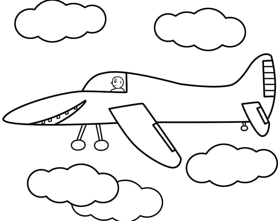 Mẫu tranh tô màu hình chiếc máy bay và đám mây dành cho bé