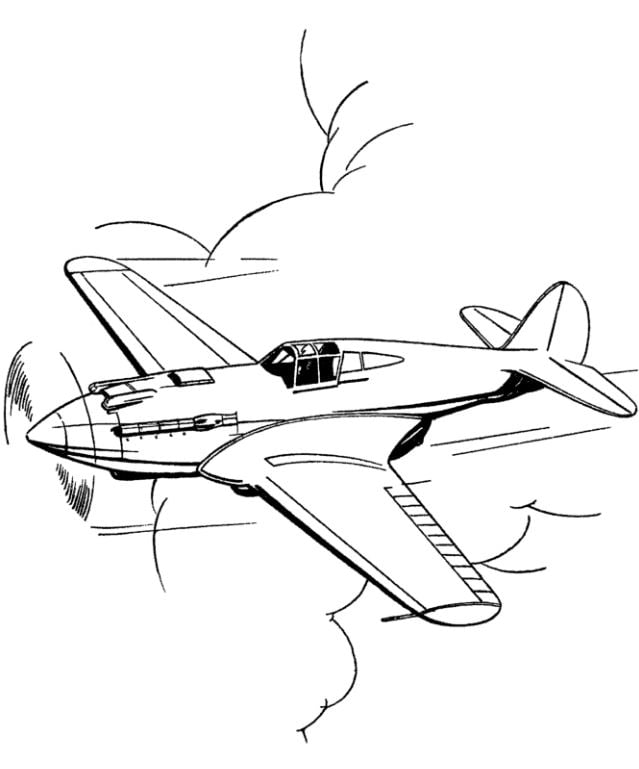 Mẫu tranh tô màu cho bé máy bay đang bay