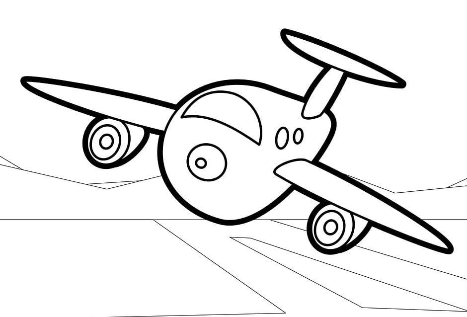Mẫu tranh tô màu chiếc máy bay dành cho bé