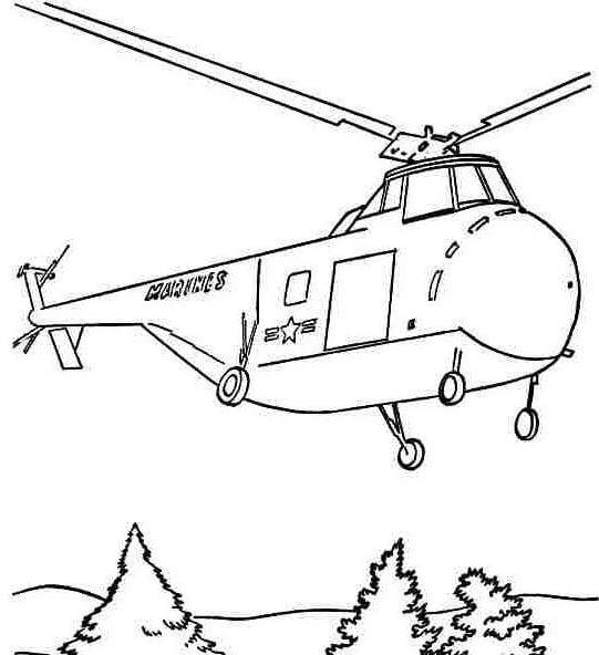 Mẫu tranh tô màu cho bé hình trực thăng đang hạ cánh
