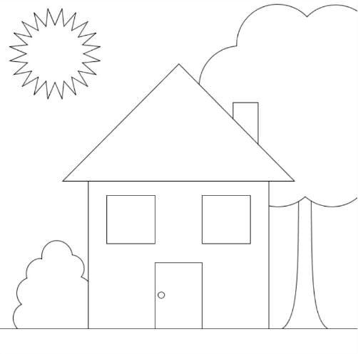 Mẫu tranh tô màu hình ngôi nhà đơn giản dành cho bé