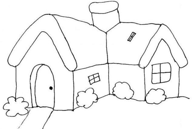 Mẫu tranh tô màu cho bé hình ngôi nhà thôn quê