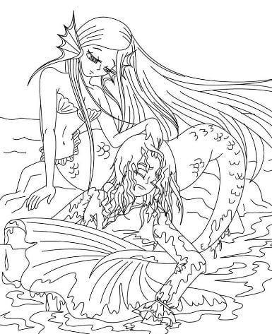 Mẫu tranh tô màu hình 2 nàng tiên cá dành cho bé gái