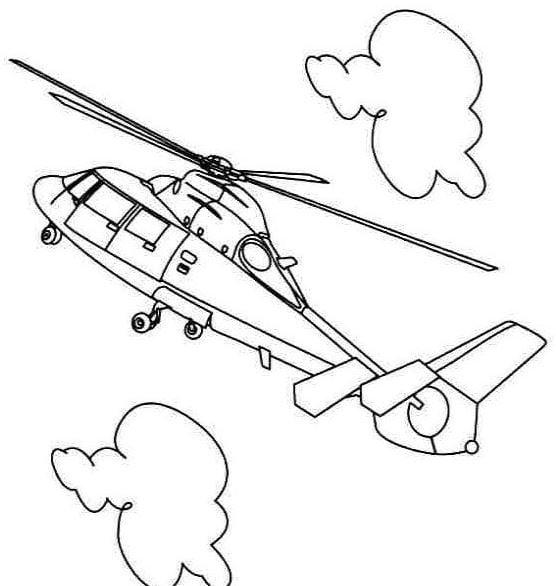 Mẫu tranh tô màu cho bé hình trực thăng đang cất cánh