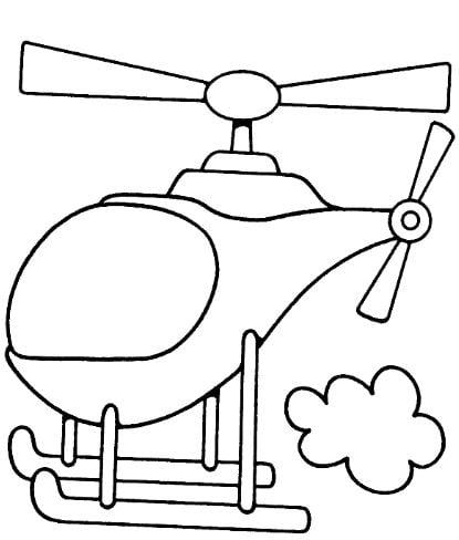 Mẫu tranh tô màu cho bé hình chiếc trực thăng đơn giản