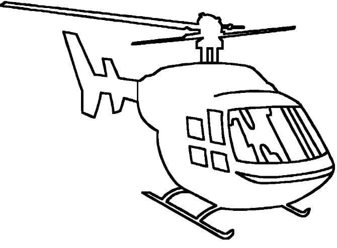 Mẫu tranh tô màu hình chiếc trực thăng dành cho bé