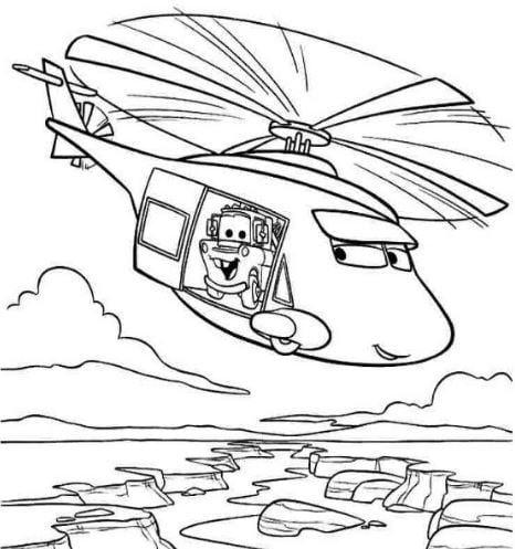 Mẫu tranh tô màu dành cho bé hình chiếc trực thăng ngộ nghĩnh