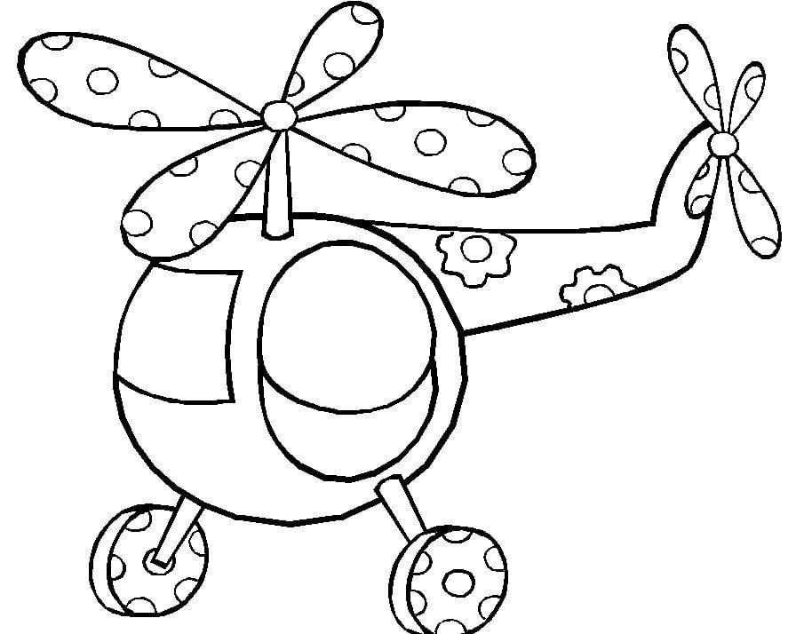 Mẫu tranh tô màu cho bé hình trực thăng