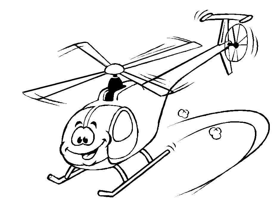 Mẫu tranh tô màu cho bé hình chiếc trực thăng ngộ nghĩnh