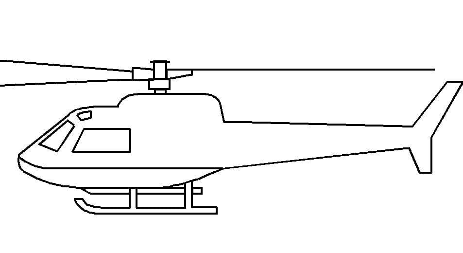 Mẫu tranh tô màu hình trực thăng đơn giản dành cho bé