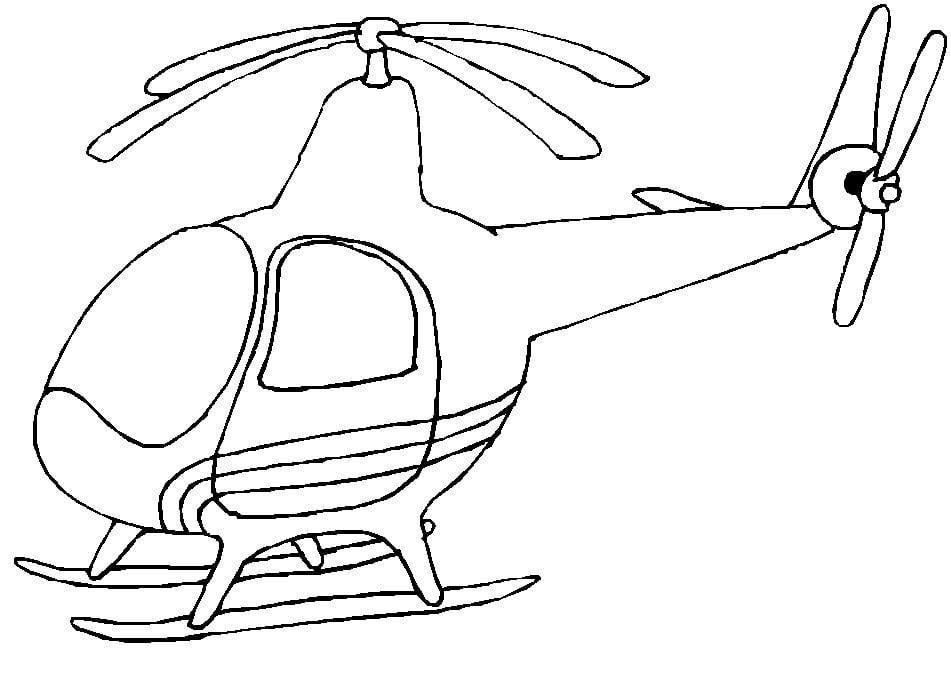 Mẫu tranh tô màu hình trực thăng dành cho bé trai