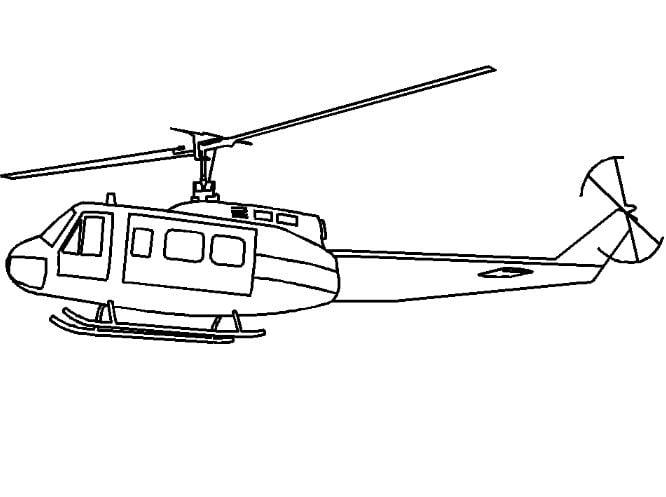 Mẫu tranh tô màu hình chiếc trực thăng dành cho bé tập tô