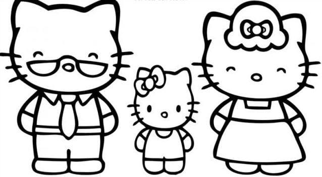 Mẫu tranh tô màu hình gia đình nhà mèo dành cho bé