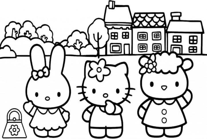 Mẫu tranh tô màu hình ba con mèo đến trường dành cho bé