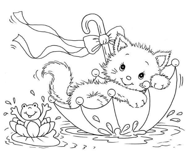 Mẫu tranh tô màu cho bé con mèo đáng yêu