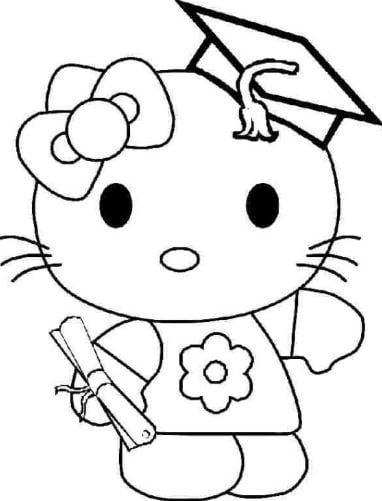 Mẫu tranh tô màu cho bé hình con mèo trong hoạt hình dễ thương