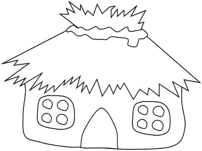 Mẫu tranh tô màu cho bé hình ngôi nhà đơn giản