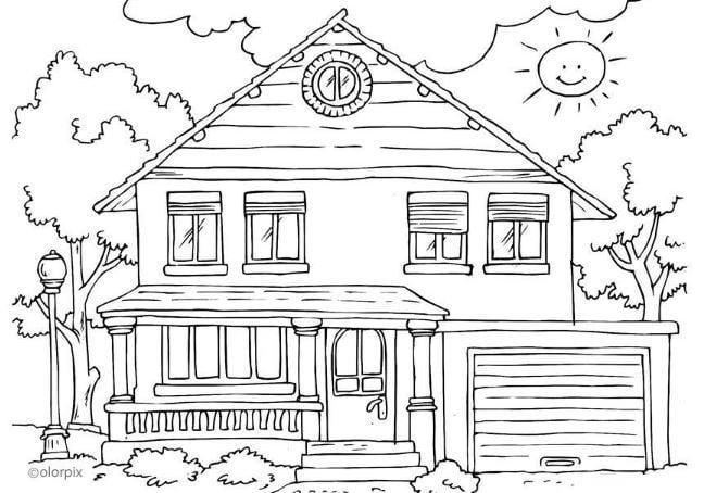Mẫu tranh tô màu cho bé hình ngôi nhà và cây cối xung quanh