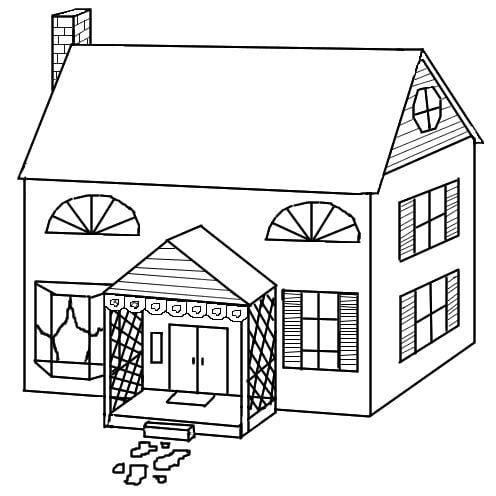 Mẫu tranh tô màu cho bé hình ngôi nhà thành thị