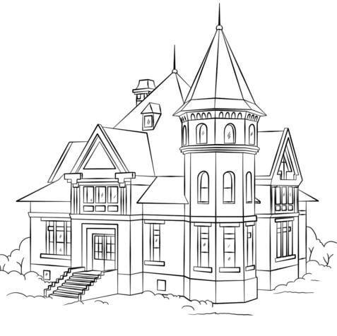 Mẫu tranh tô màu cho bé hình ngôi nhà biệt thự dành cho bé