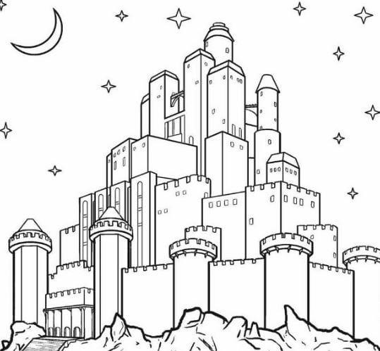 Mẫu tranh tô màu cho bé hình lâu đài sang trọng
