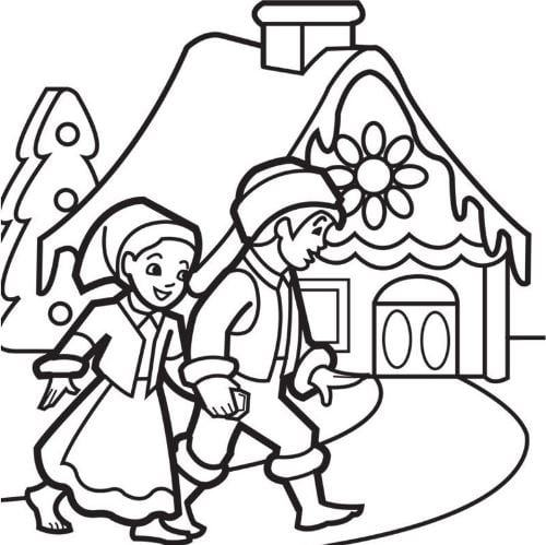 Mẫu tranh tô màu cho bé hình ngôi nhà và đôi bạn đang trên đường về